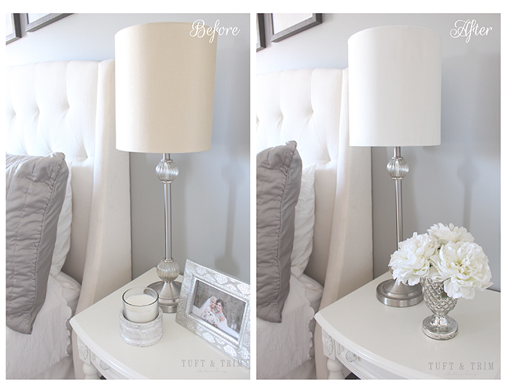 How to paint a lamp shade, before and after