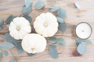 Elegant and Rustic Thanksgiving Table: white pumpkins