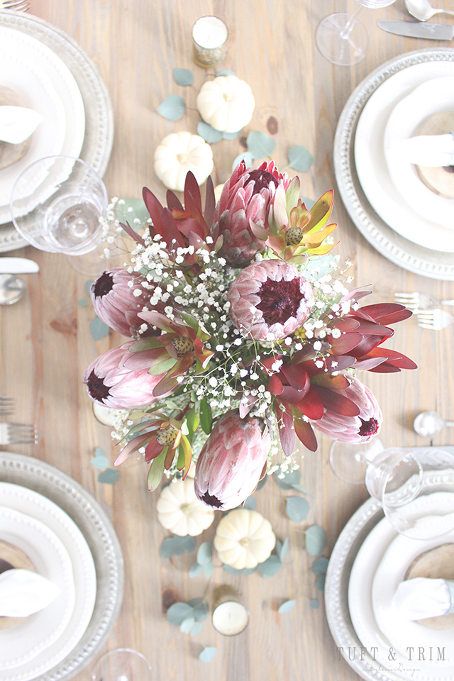Elegant and Rustic Thanksgiving Centerpiece. Get the look at tuftandtrim.com