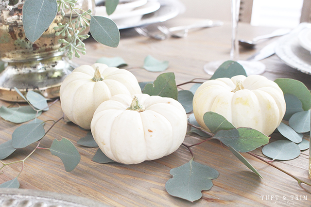Thanksgiving table decor: Mini white pumpkins