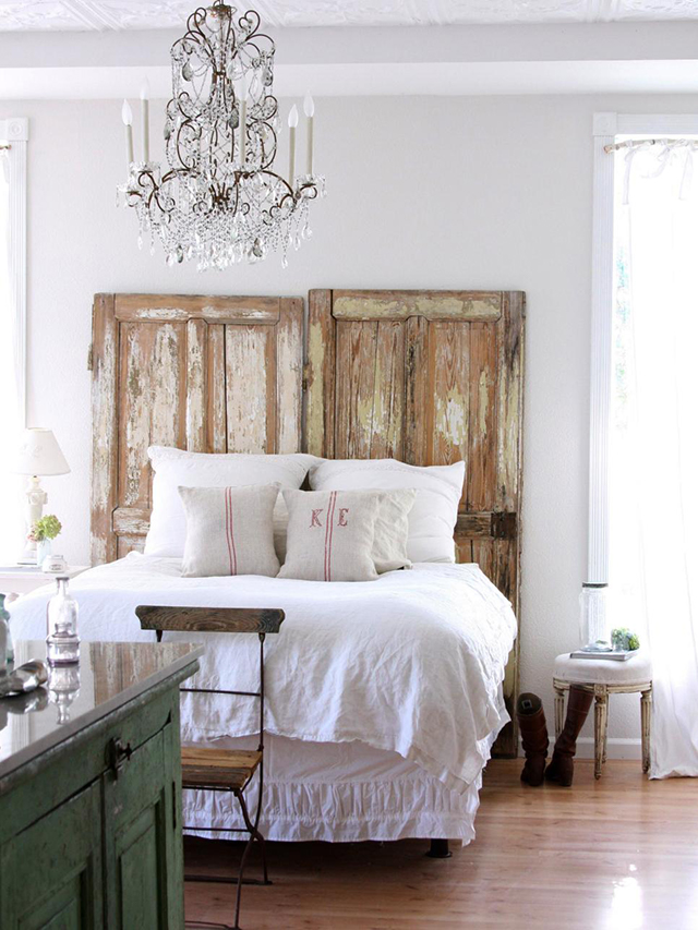 If You Have Tall Ceilings A Door Headboard Can Be Just What The Room Needs