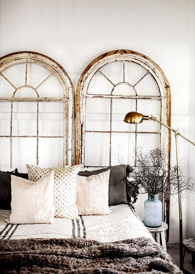 10 Creative DIY Headboard Ideas: Arched Window Headboard