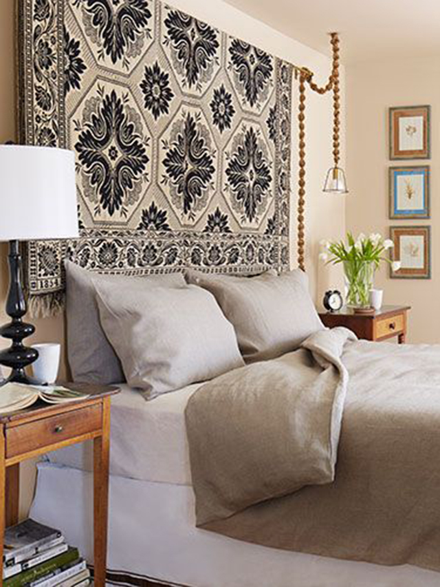 10 Creative DIY Headboard Ideas: Antique Rug Headboard