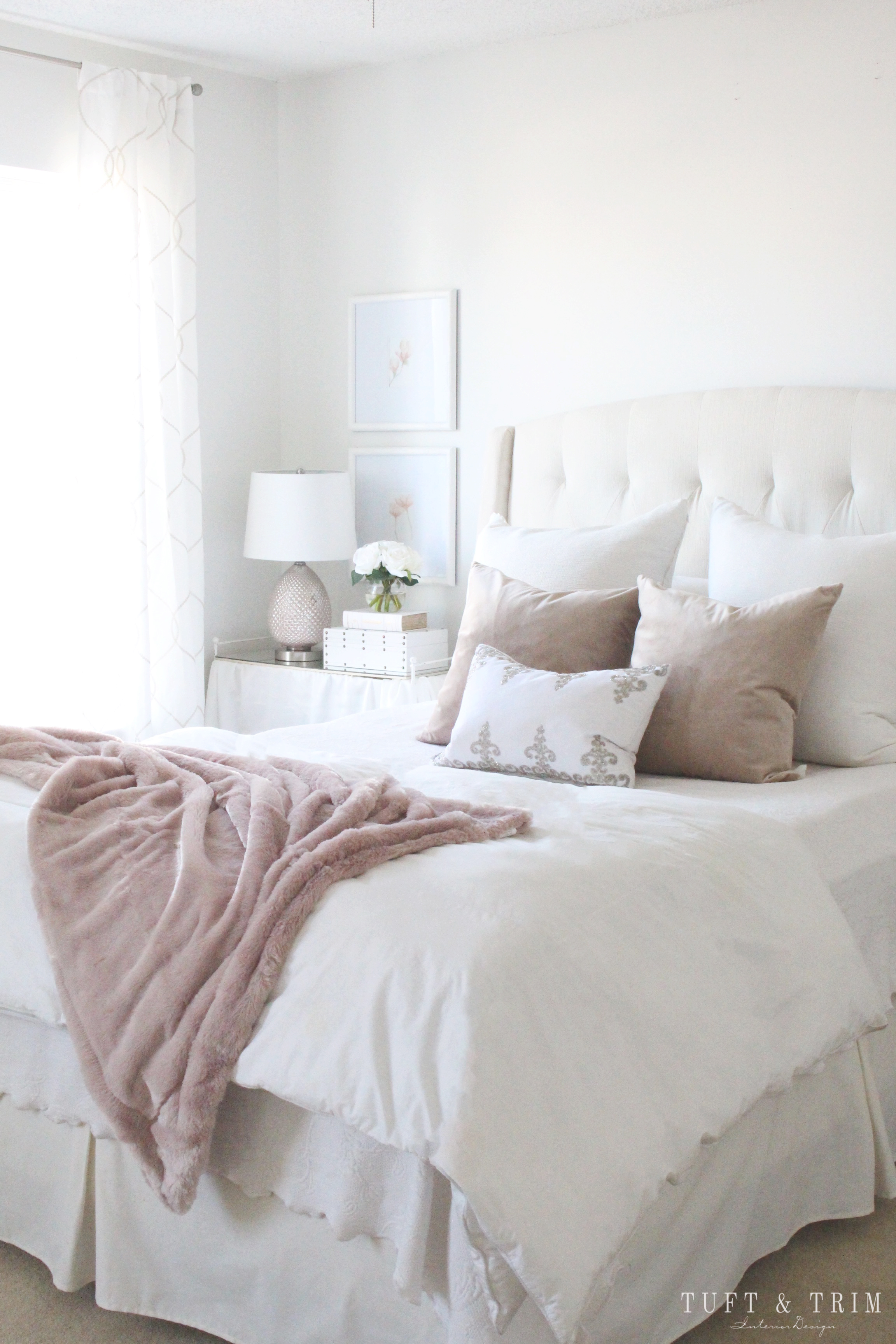 Elegantly Blush Bedroom Design Transformation- See More Pics at Tuft & Trim