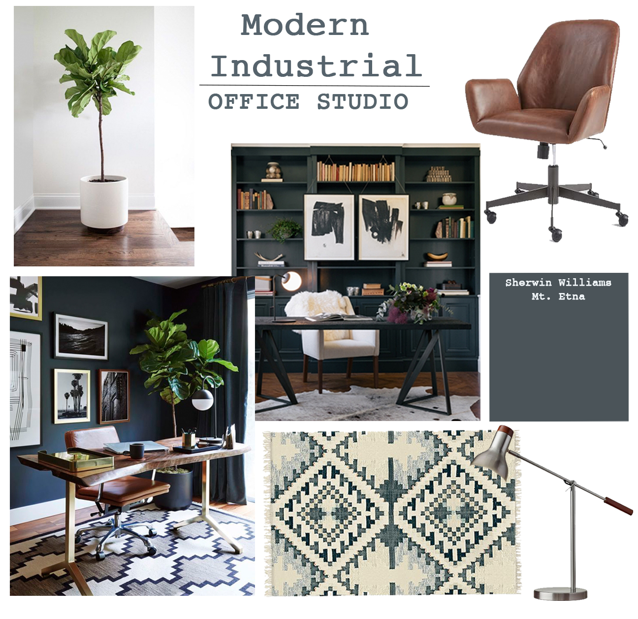 Studio office design modern industrial tuft trim for Office design instagram