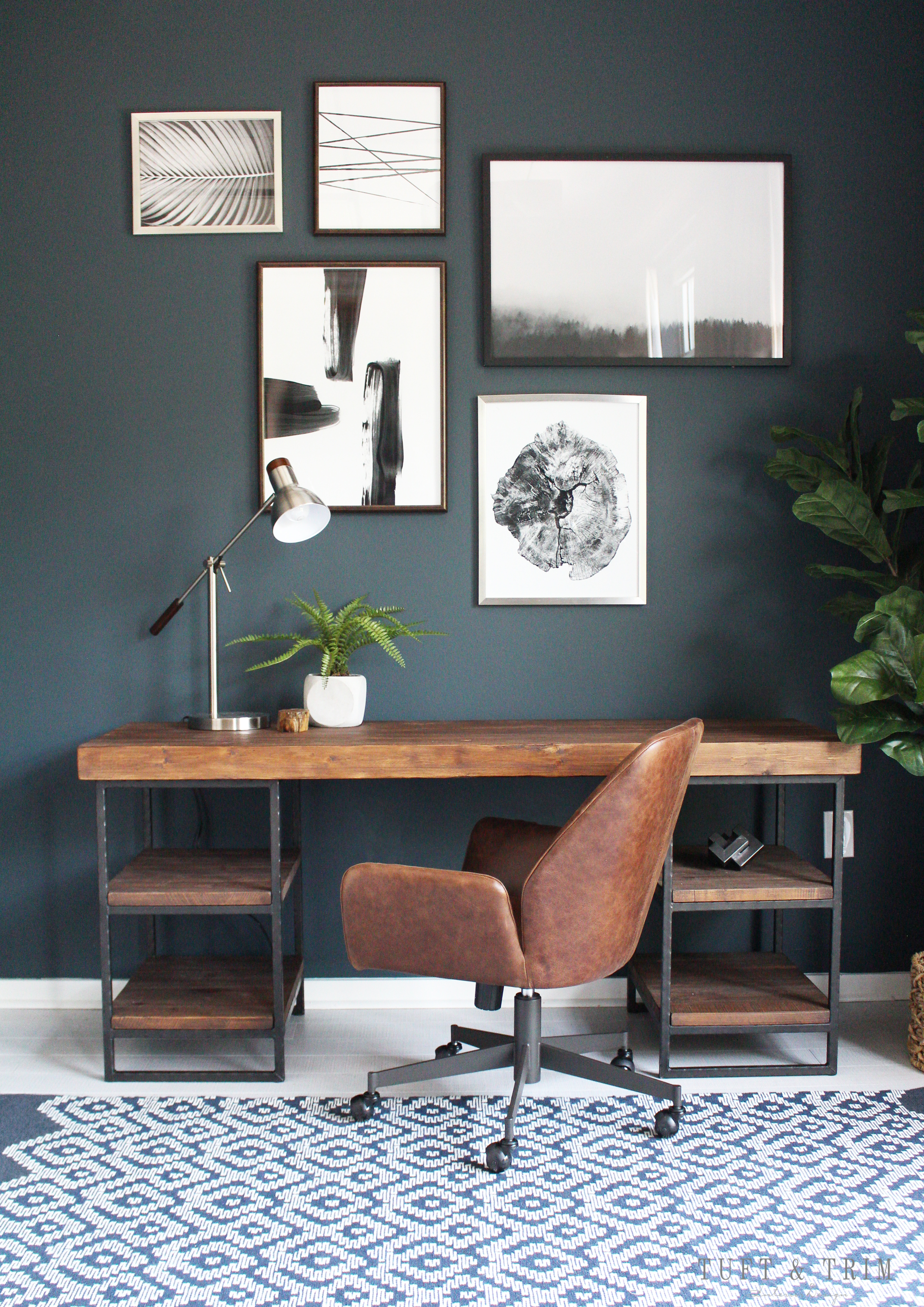 Modern Industrial Studio Office Design Tuft Trim