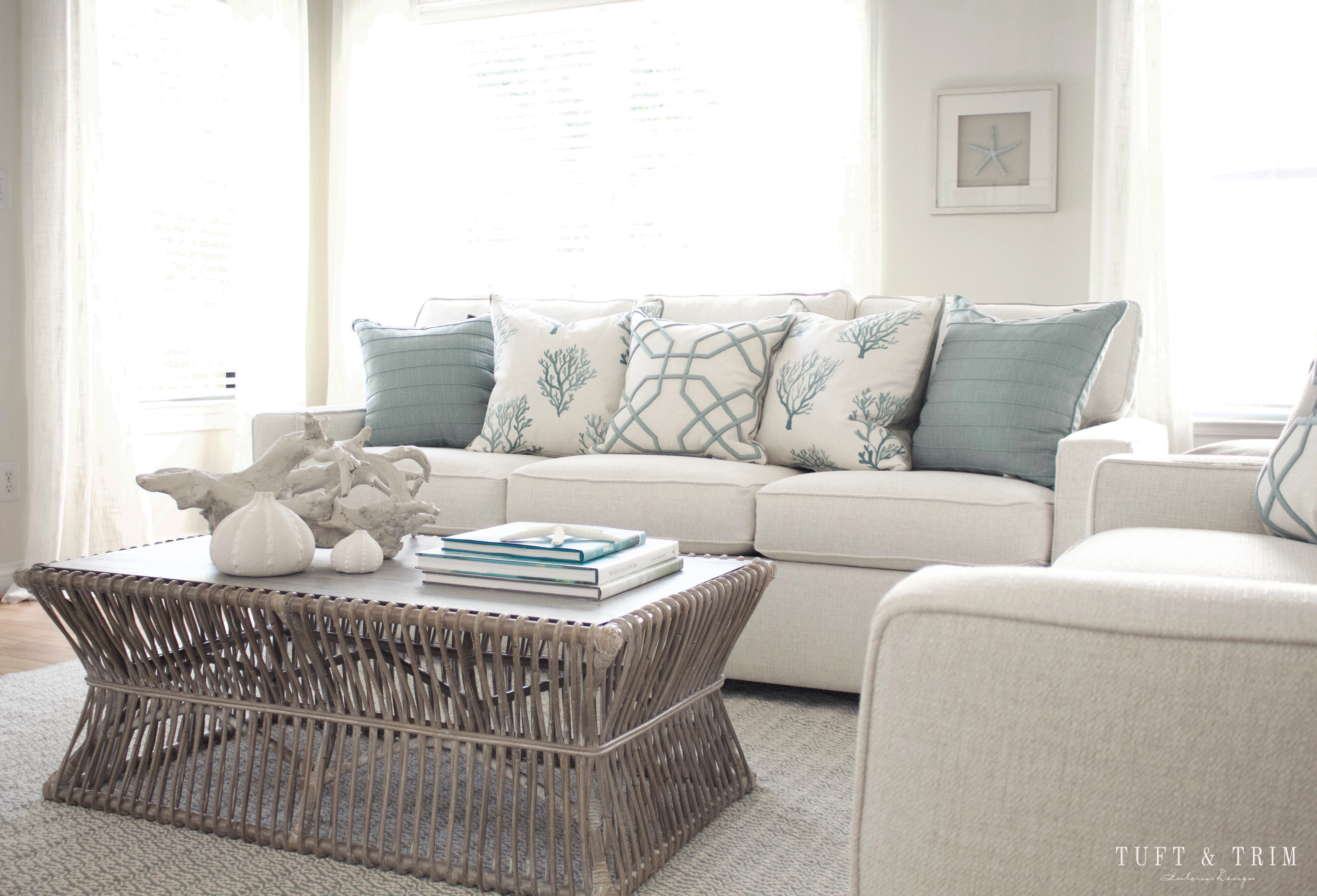 Coastal Contemporary Living Room Reveal Tuft & Trim