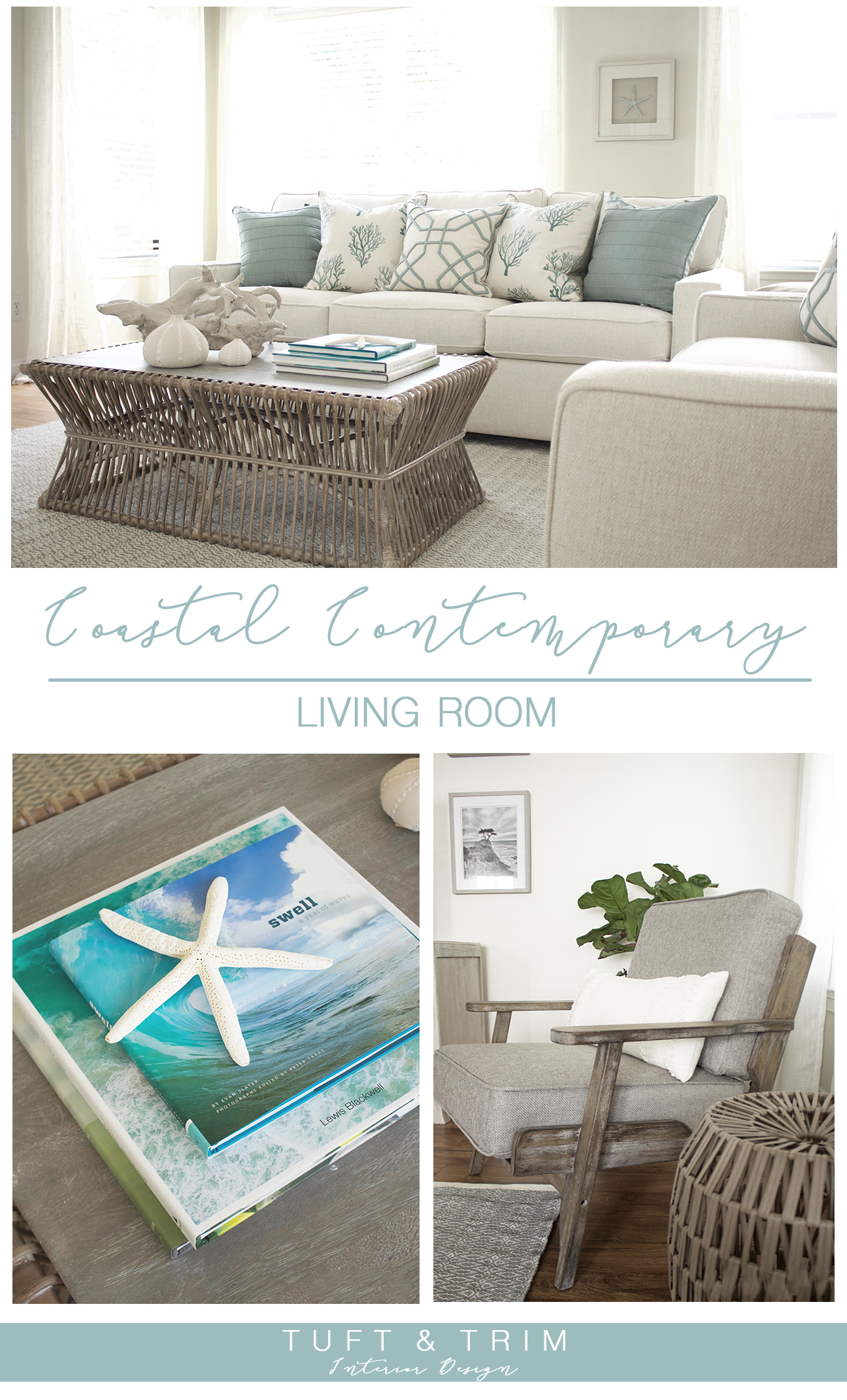 Coastal Contemporary Living Room Reveal