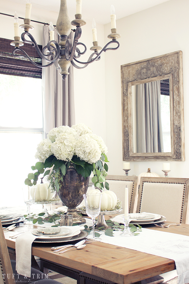 Neutral fall decor. Neutral Fall Tablescape. Elegant floral centerpiece. Rustic French Decor.