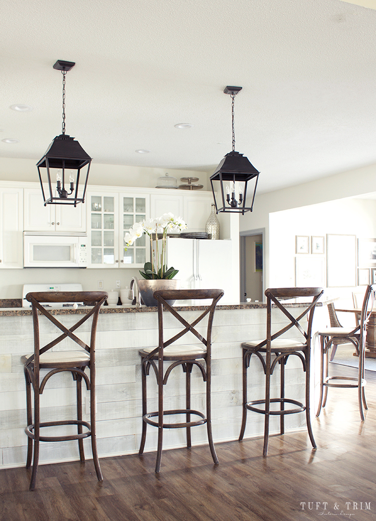 Our DIY Kitchen Lighting Update Reveal. Shop lighting, barstools, and more!