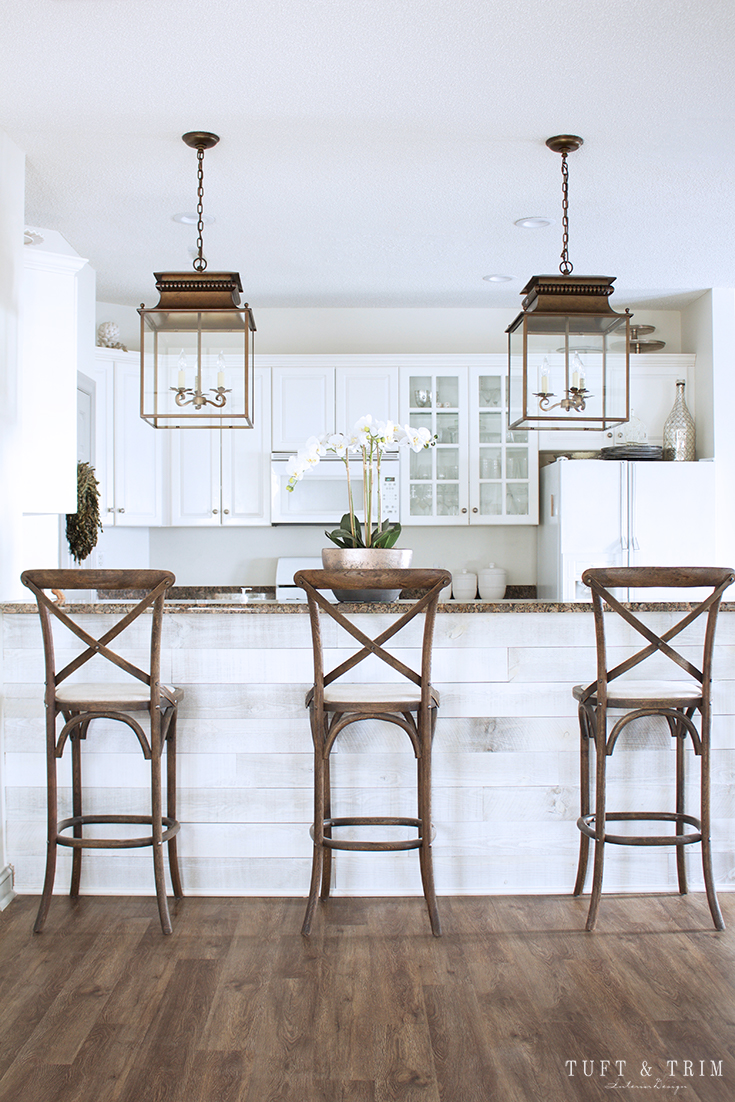 Kitchen Lighting Update Reveal. Farmhouse Style Kitchen with Lantern.