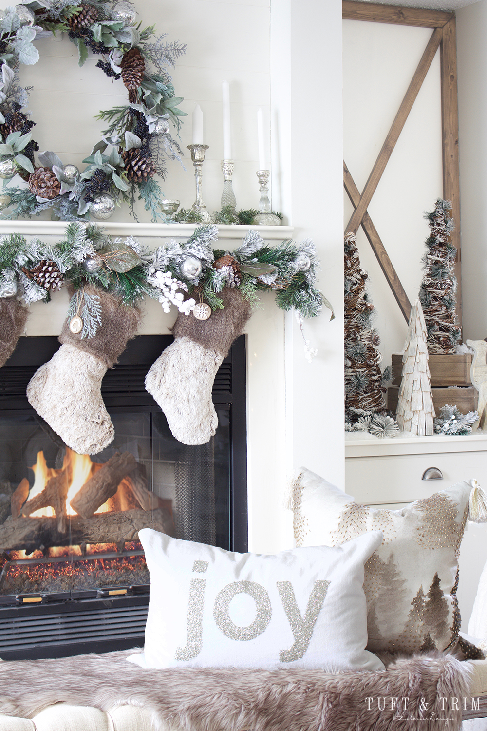 Holiday Tour Part 1 Rustic Chic Christmas Decor Tuft Trim - A-contemporary-home-blessed-with-some-rustic-magic