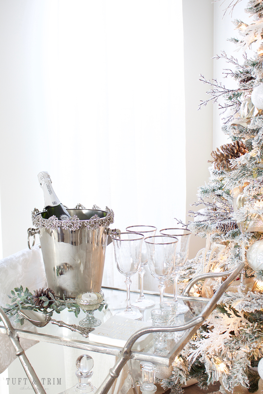 Tuft & Trim Interior Design. How to Style your Bar Cart for the Holidays