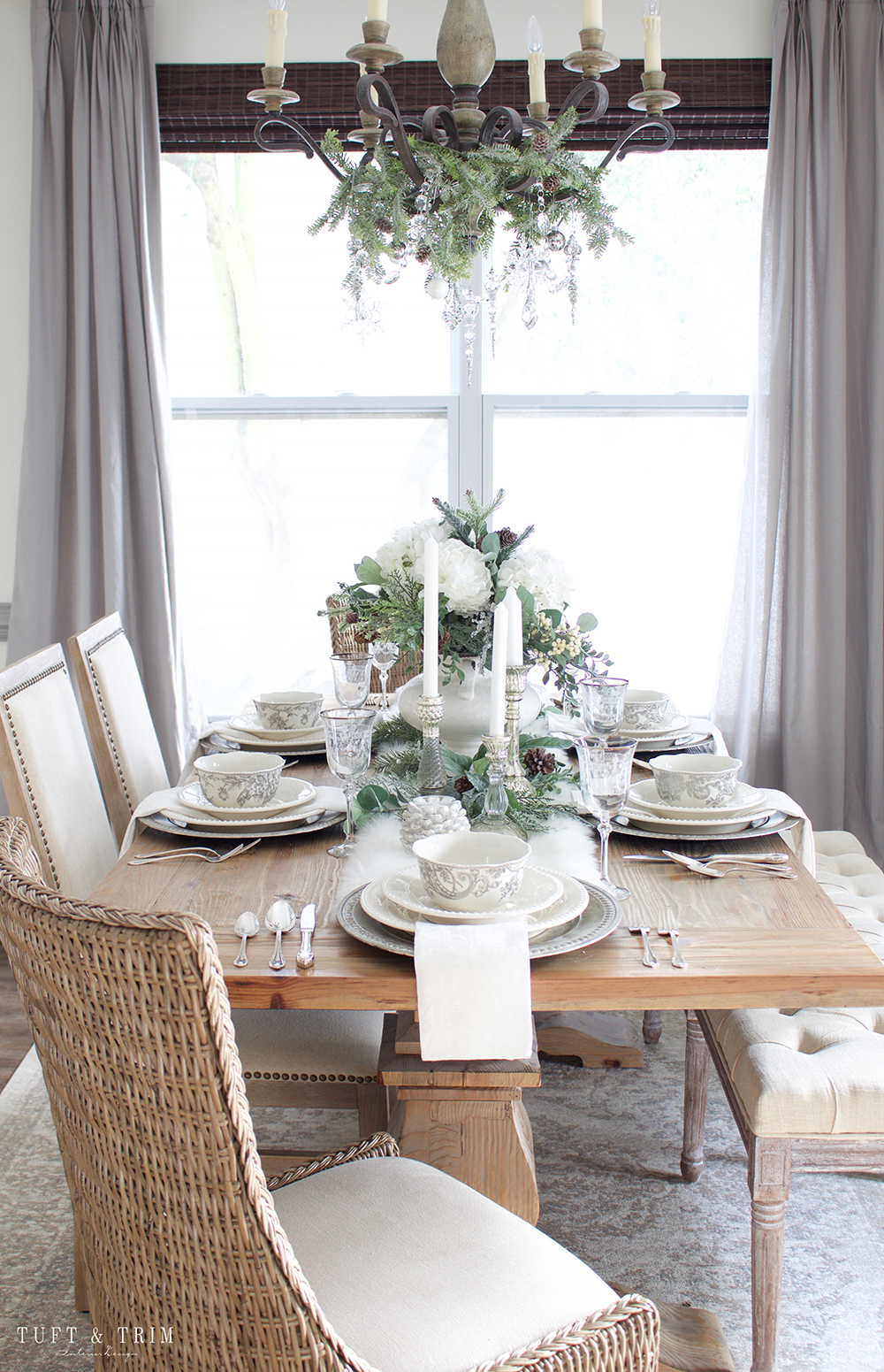 Elegant White Christmas Tablescape. Shop the look at Tuft & Trim
