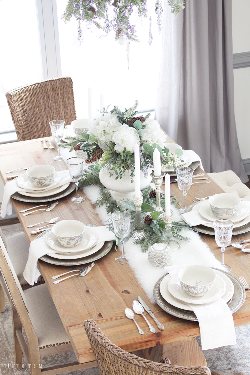 Holiday Tour Part 2: An Elegant White Christmas Tablescape - Tuft & Trim