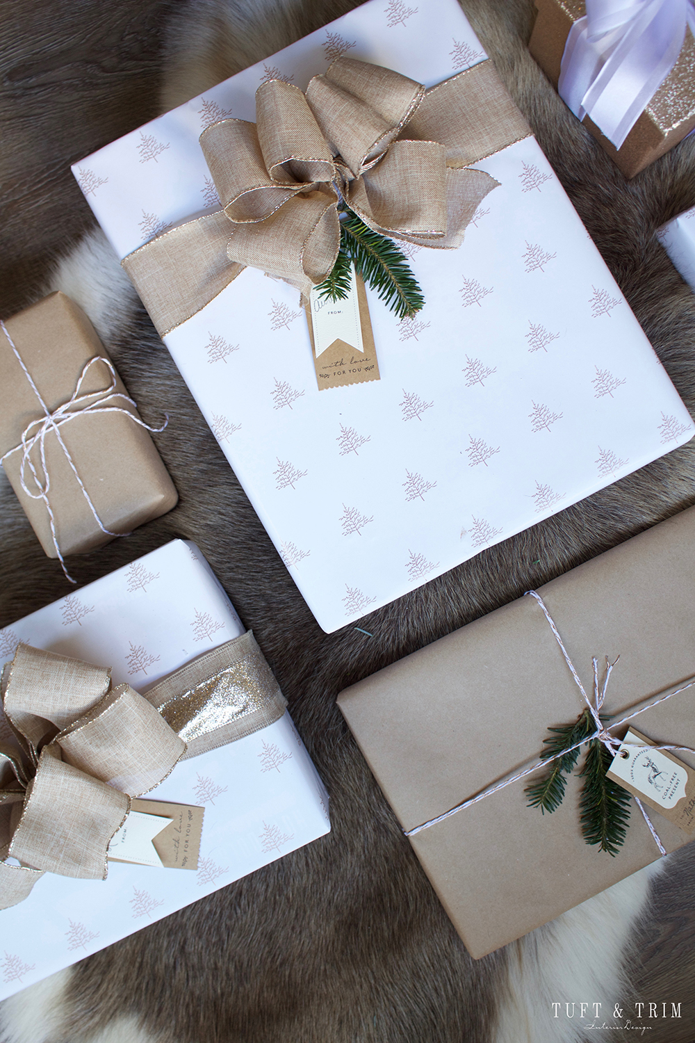 Champagne and Linen Christmas Gift Wrap. Get wrapping ideas at tuftandtrim.com!