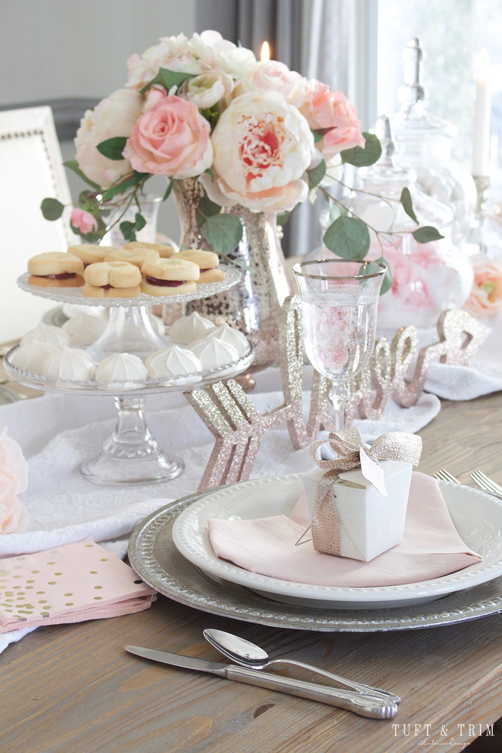 Pretty in Pink Valentines Day Tablescape Tour with Tuft u0026 Trim & Pretty in Pink: Valentines Day Tablescape Tour - Tuft u0026 Trim