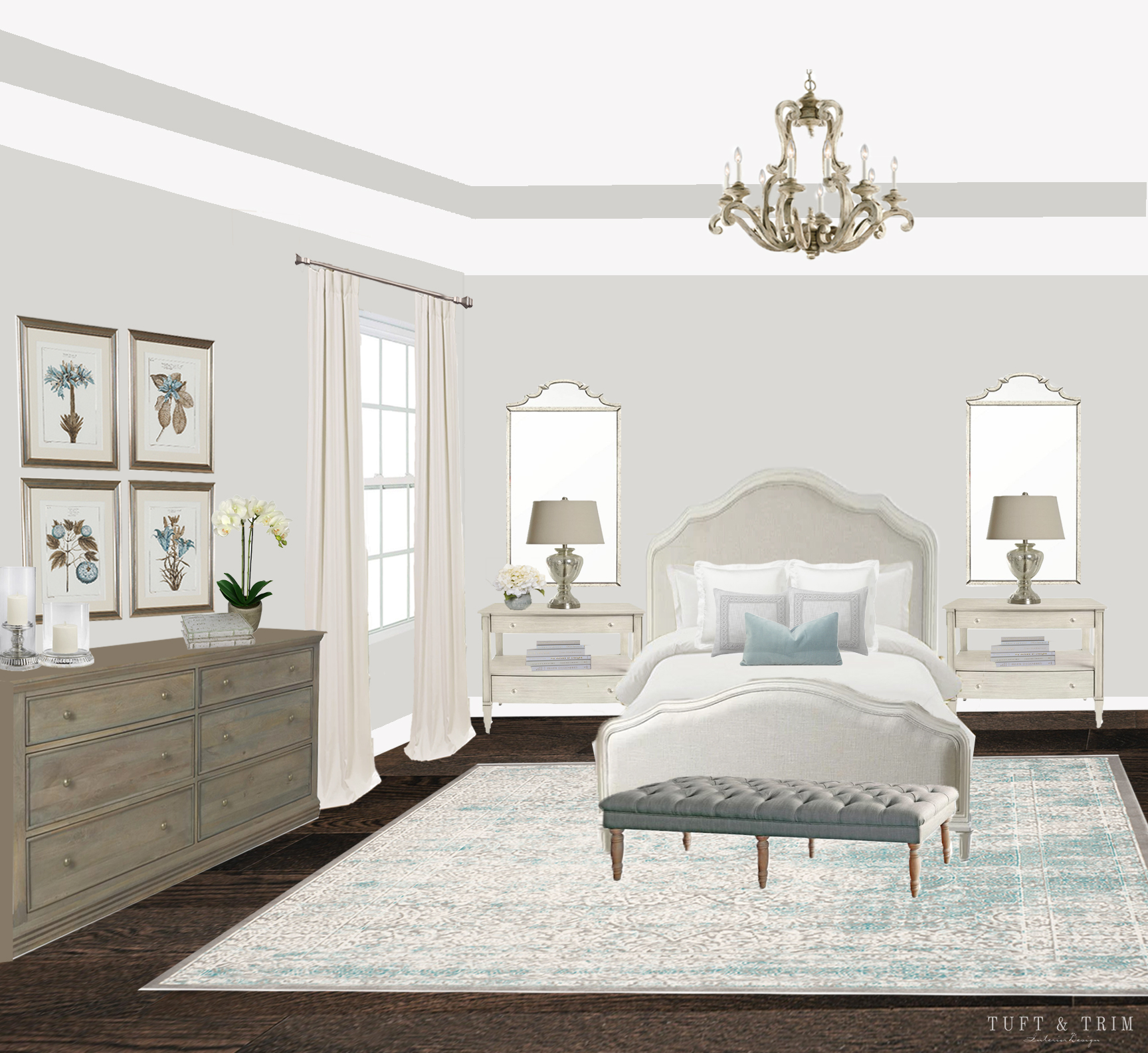 French Chic Bedroom e-Design - Tuft & Trim