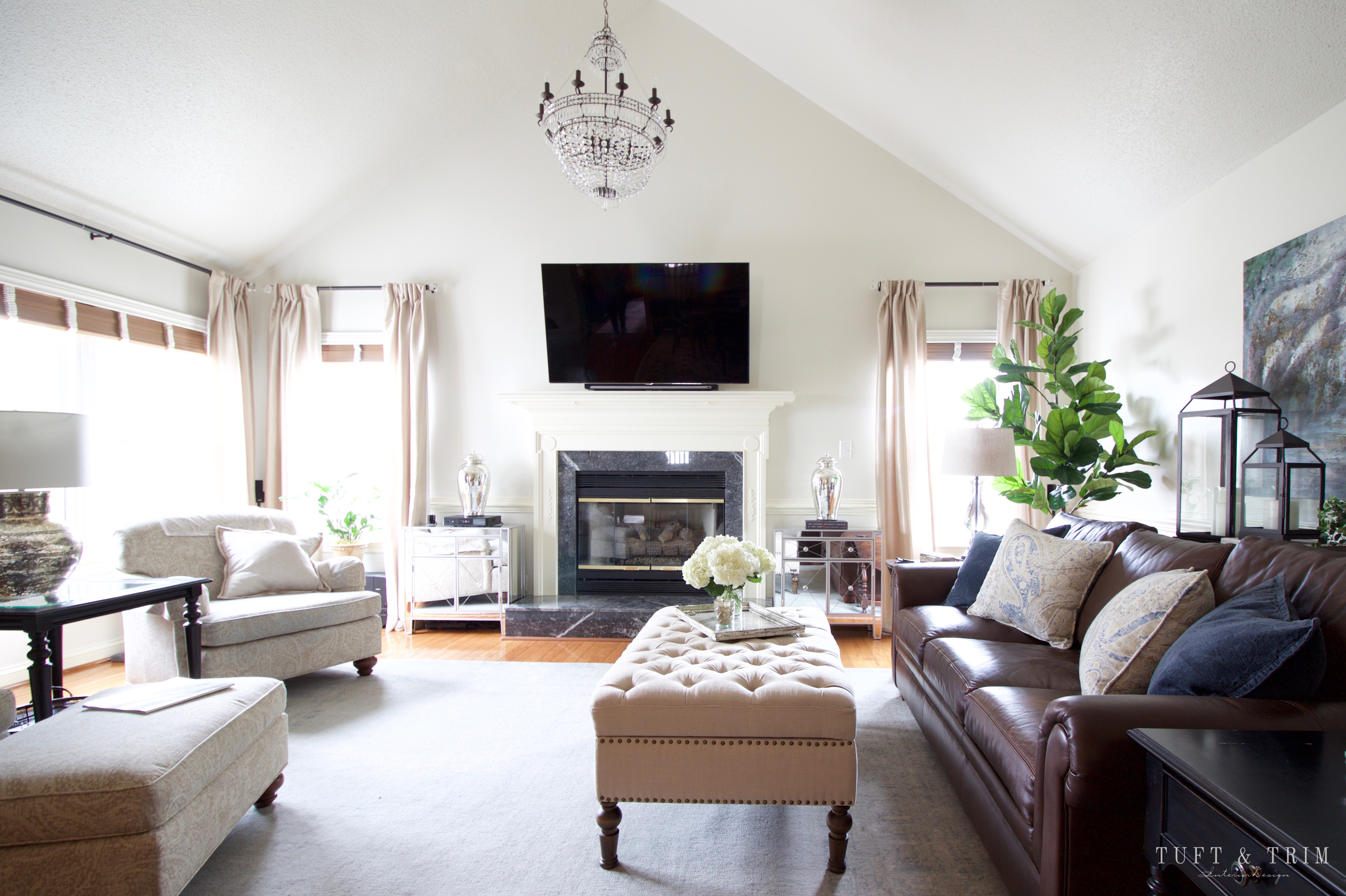 before and after a living room transformation tuft trim