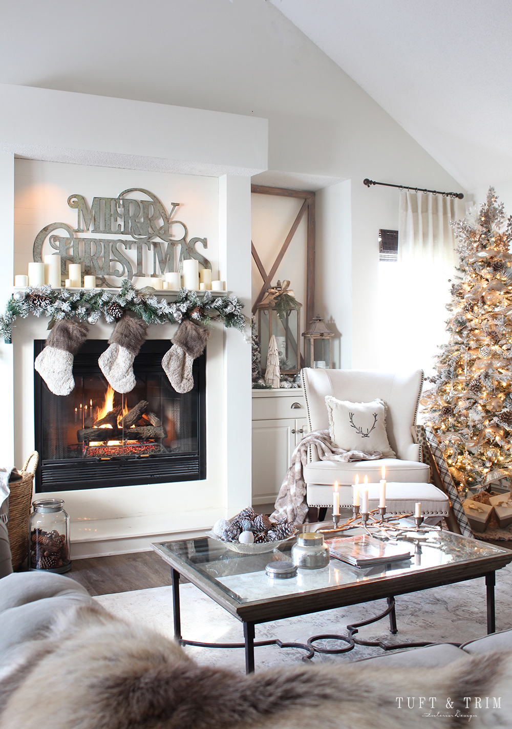 Rustic and Neutral Christmas Decor with Tuft and Trim Interior design at tuftandtrim.com