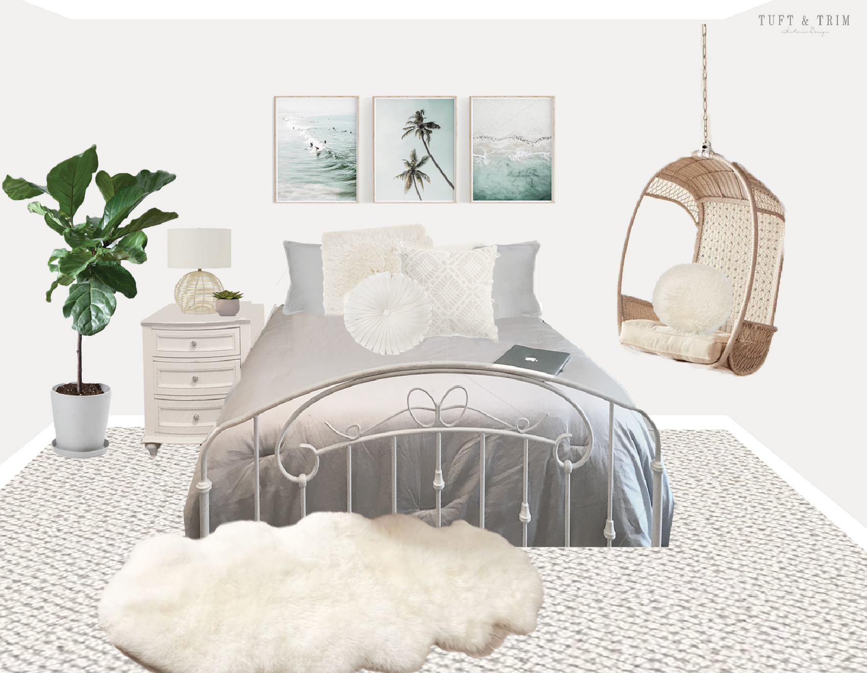 Boho Beach Teen Bedroom Surprise Makeover Tuft Trim