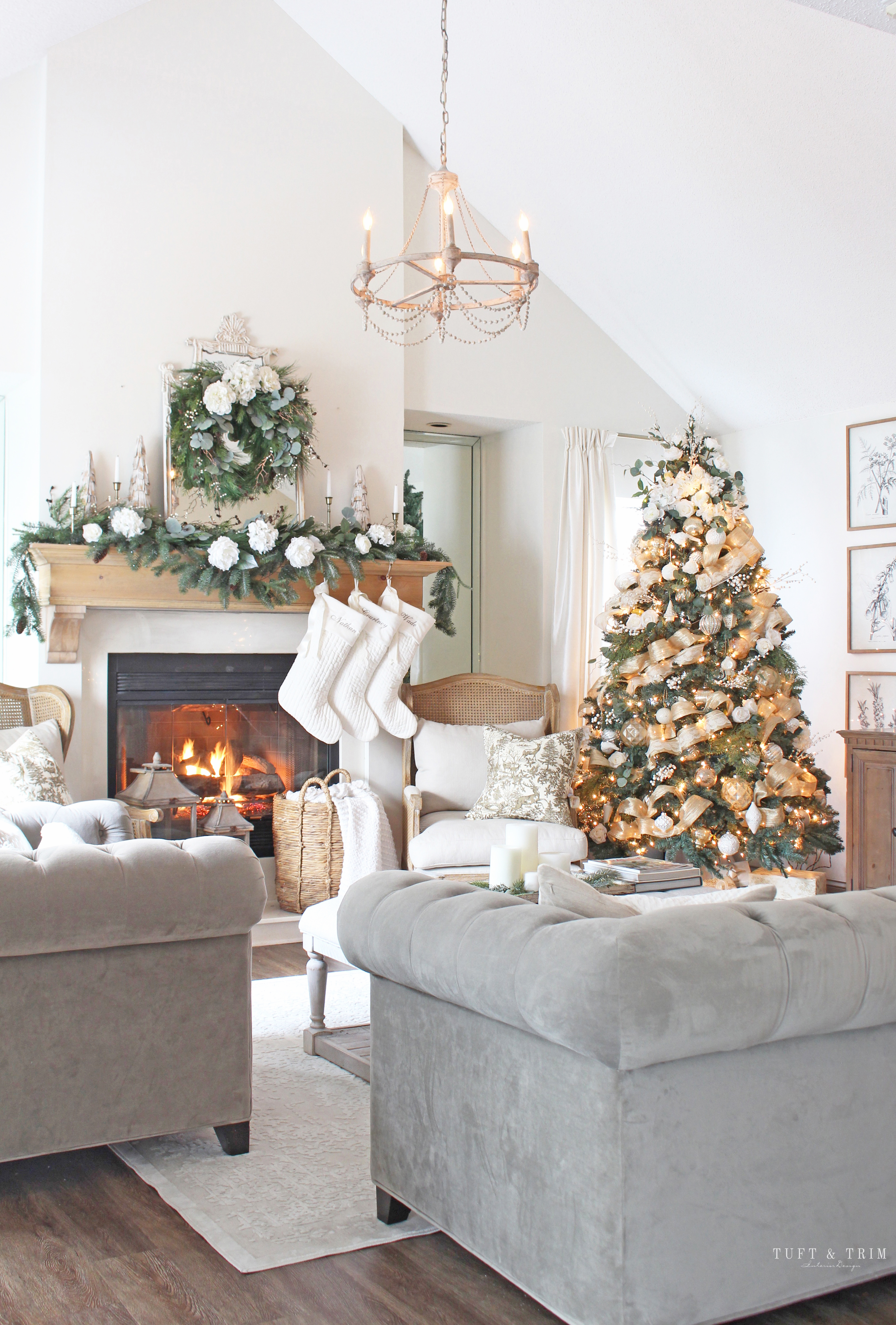 White and Gold Classic Christmas Living Room   Tuft & Trim
